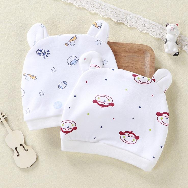 Combo 2 Mũ Che Thóp Cotton Mềm Cho Trẻ Sơ Sinh 0-6 Tháng - Họa Tiết Bé Gái 4