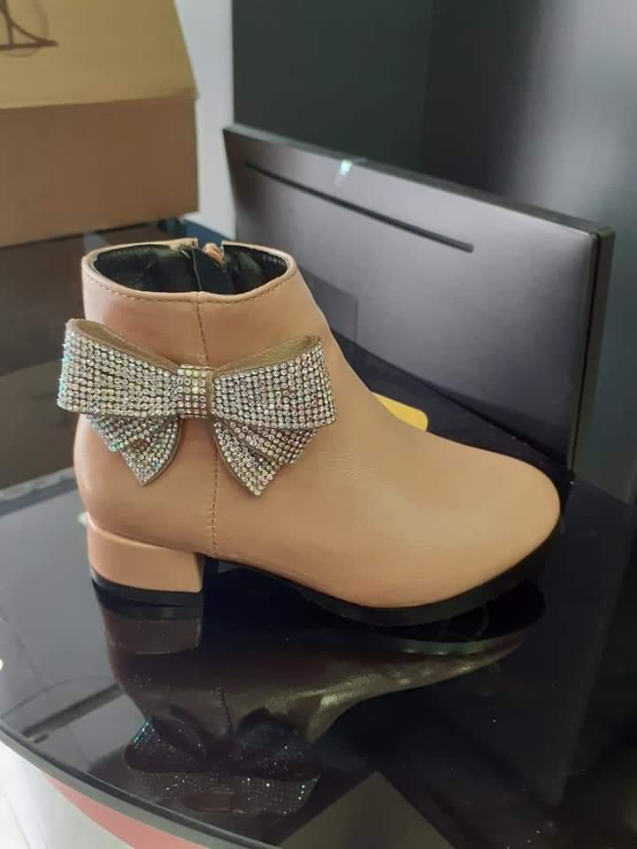 Giày Boots Nữ Đính Nơ Lấp Lánh - GBDN 2