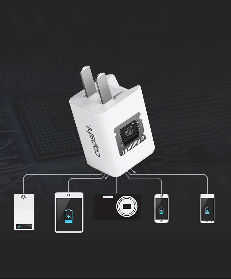 Chân Sạc Hai Cổng Tích Hợp USB Cho Huawei/Millet/OPPO/Meizu/VIVO/Samsung Và Các Điện Thoại Android CAPSHI TC029 - Trắng - Dòng Diện 2A