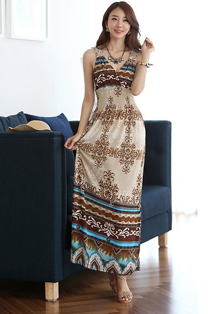 Váy đầm maxi thun lạnh co giãn giấu bụng dạo chơi, đi biển - Maxi 65 1