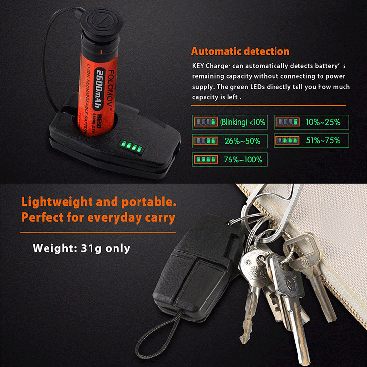 Portable USB Charging Battery Charger Indicator Key Charger for 21700 20700 18650 Li-ion Battery