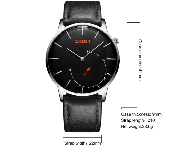 CADISEN C2029 Men Watch Top Quartz Watch Top luxury Business Brand 3ATM Waterproof Mineral Reinforced Mirror Stainless - Black Dial Stainless Strap