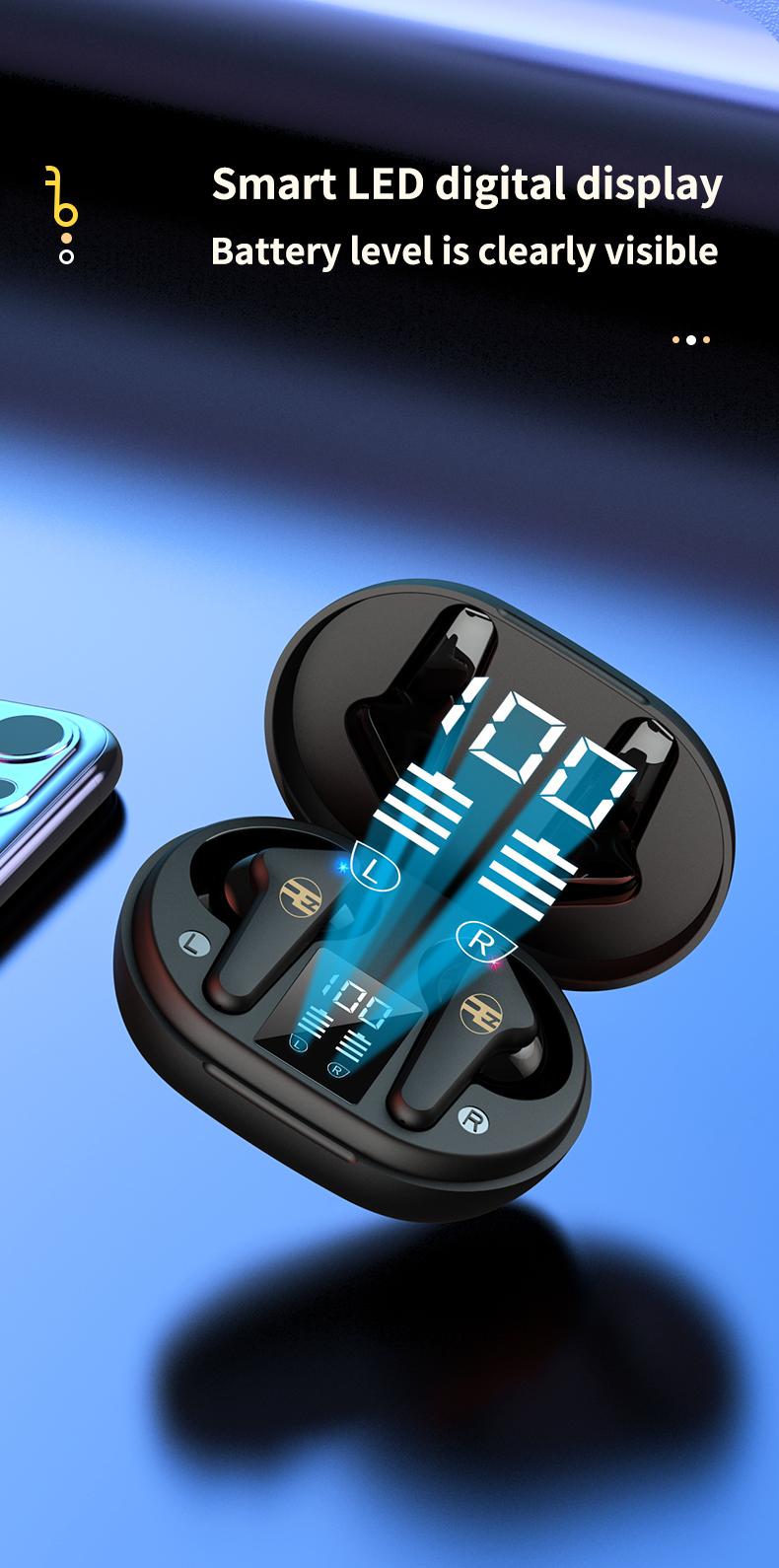 Tai Nghe Bluetooth V5.0 True Wireless Không Dây Reroka Torpedo 2021 Cảm Ứng Vân Tay Âm Thanh Hi-Fi  Bass Căng Trầm Pin Trâu Hiển Thị Mức Pin Đèn Led Chống Ồn Chống Nước Đổi Tên Thiết Bị Kiểu Giáng Thể Thao Đeo Chắc Tai 3 Màu Trắng Hồng Đen- Hàng Chính Hãng8