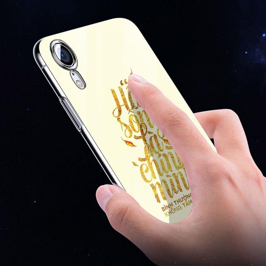 Ốp điện thoại kính cường lực cho máy iPhone XR - châm ngôn sống MS CNGON012