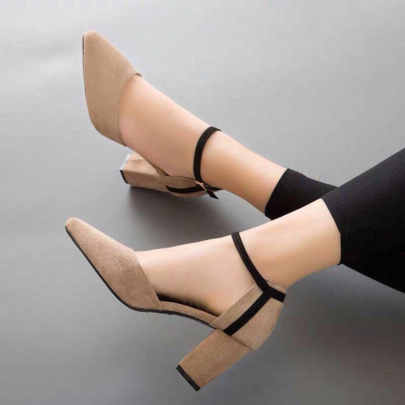 Giày Sandal Cao Gót Nữ Da Nỉ Cao Cấp Cài Quai Viền Đen Đế Vuông Cao 7p- CTG8504 3