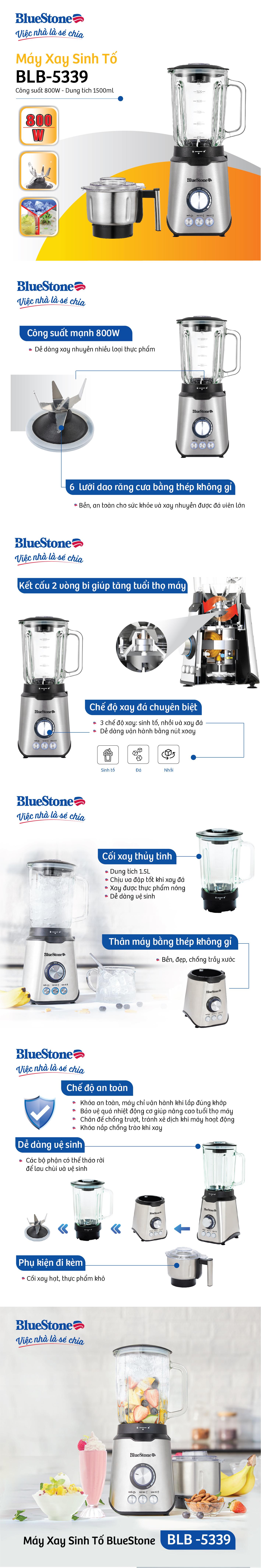 Máy xay sinh tố BlueStone BLB-5339 - Hàng Chính Hãng