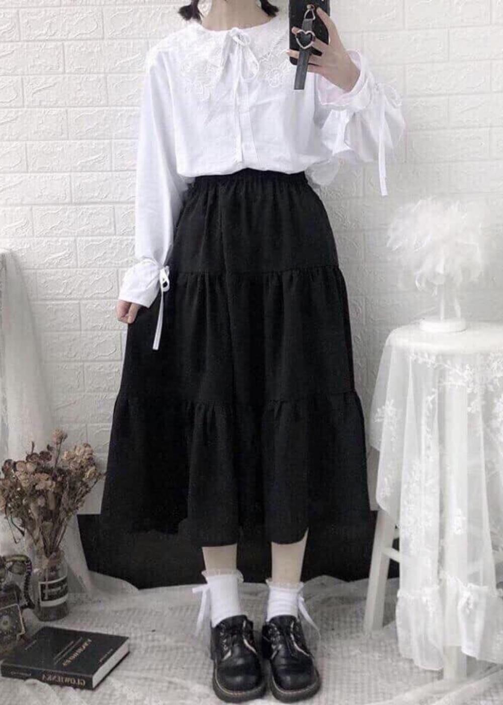 Chân váy xòe dáng dài chất đẹp, dễ thương 2 tầng cạp chun 3