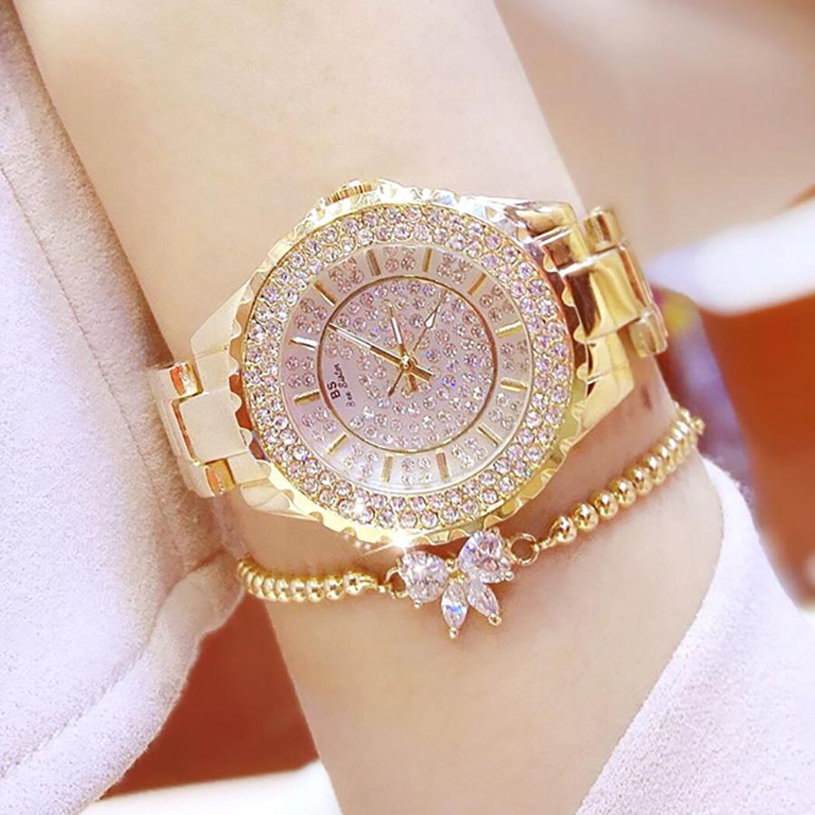 Đồng hồ nữ đính đá pha lê cao cấp (Vàng) 1