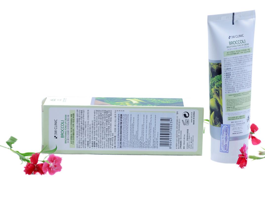 Kem nền dưỡng trắng tinh chất bông cải xanh 3W CLINIC Hàn Quốc 100ml 3