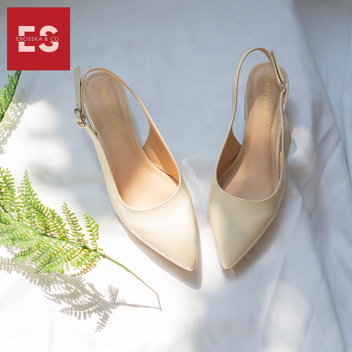 Giày cao gót slingback Erosska mũi nhọn da bóng kiểu dáng basic cao 4cm - EL012 3
