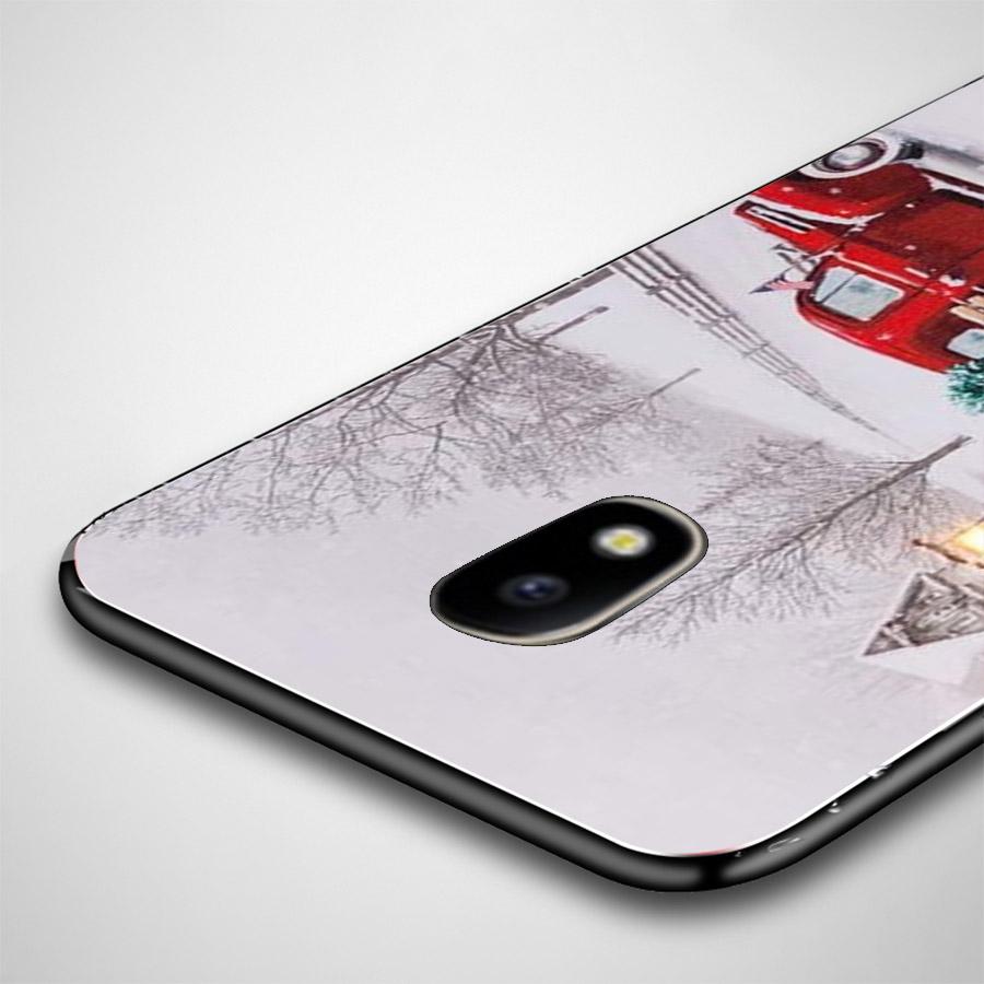 Ốp lưng cứng viền dẻo dành cho điện thoại Samsung Galaxy J7 Plus - giáng sinh đầm ấm MS GSDA017