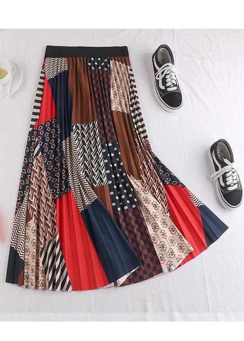 Chân váy xếp ly Vintage dáng dài chất không nhăn VAY35 phối nhiều màu (Free size) 9
