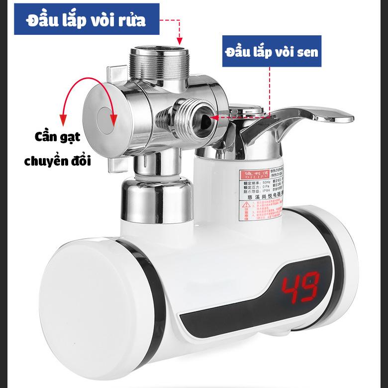 Máy làm nóng nước trực tiếp tại vòi QWater RX-02 kèm vòi sen và đầu tăng áp gia dụng ALOMA