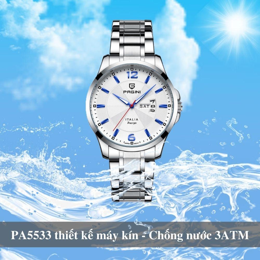 Đồng hồ nam PAGINI PA5533W dây thép không gỉ - Lịch ngày cao cấp 3