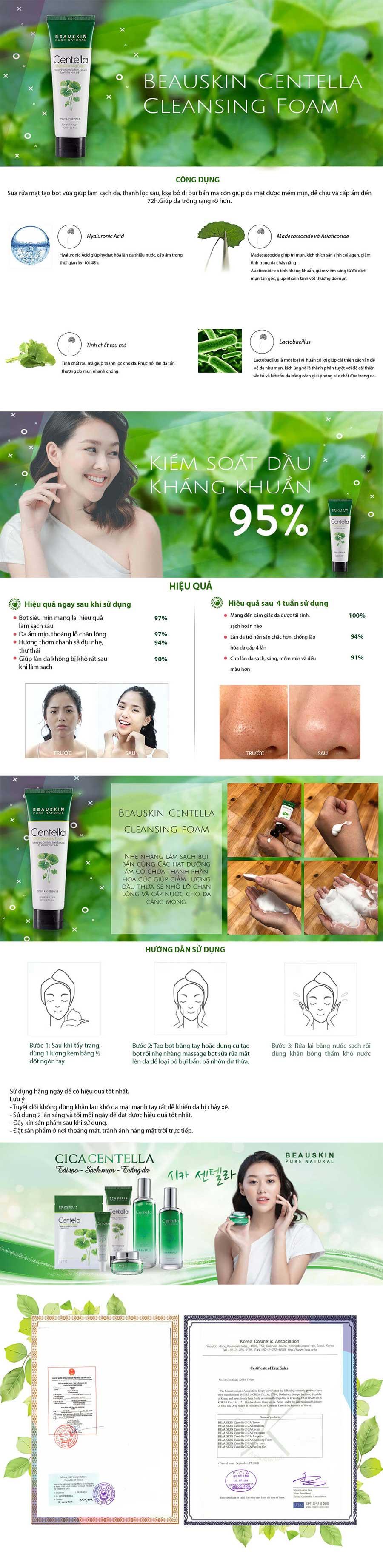 Sữa rửa mặt trắng da trị mụn sạch nhờn trị nám dưỡng mềm da mờ sẹo Beauskin Centella CICA Cleansing Foam, Hàn Quốc 120 ml
