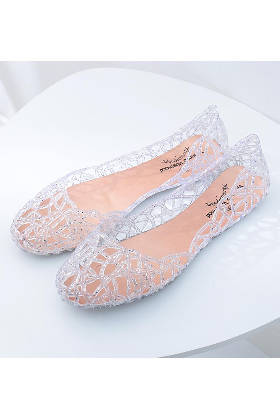 Giày búp bê nữ đế bằng nhựa đi mưa siêu bền đi thoáng và êm chân full size nhiều màu V217 7