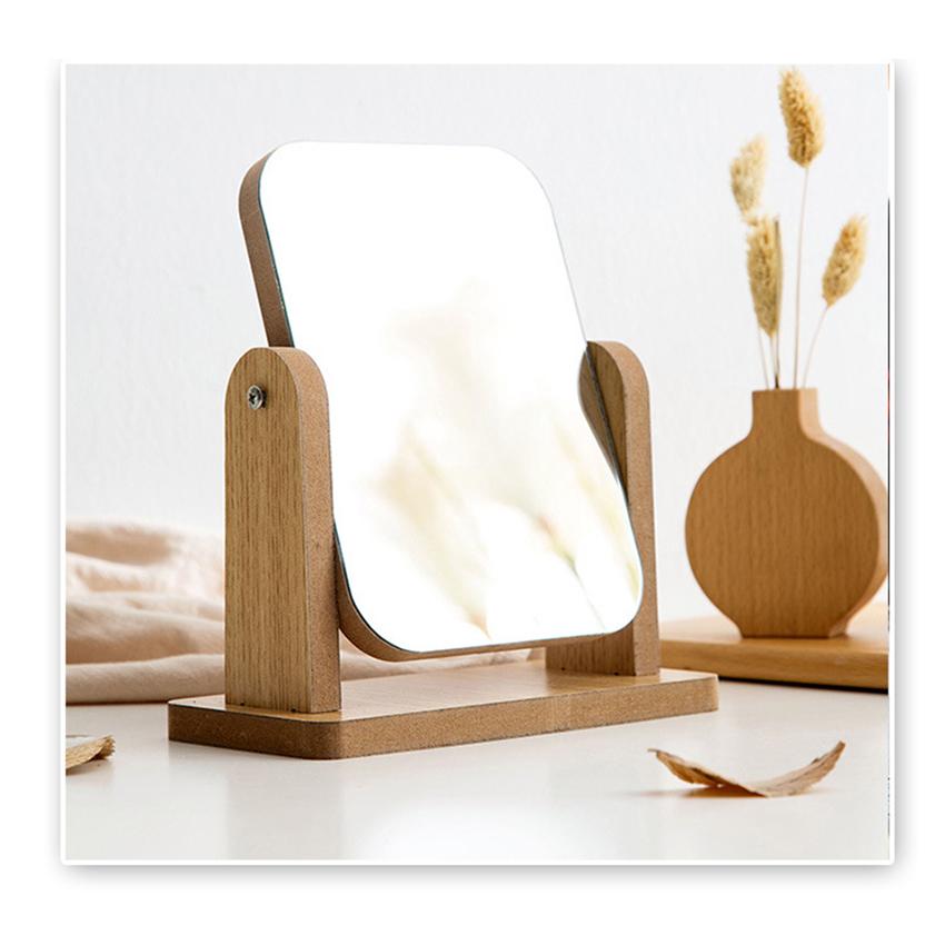 Gương trang điểm cao cấp chất liệu gỗ ép, điều chỉnh góc nhìn 360 độ loại lớn 1