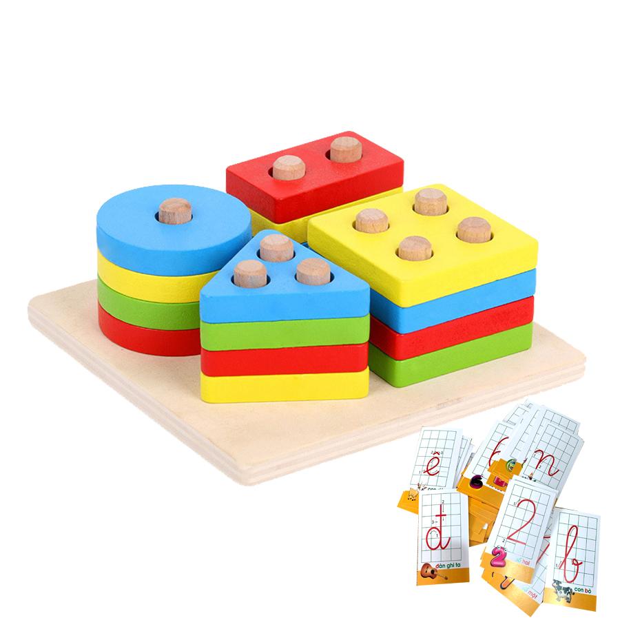 Đồ Chơi Gỗ,Bảng Chuỗi Thả Hình Giúp Bé Học Màu Sắc Hình Khối Theo Phương  Pháp Montessori,Tặng Kèm Bộ Thẻ Học Giúp Cho Bé Học Chữ Cái Và Số