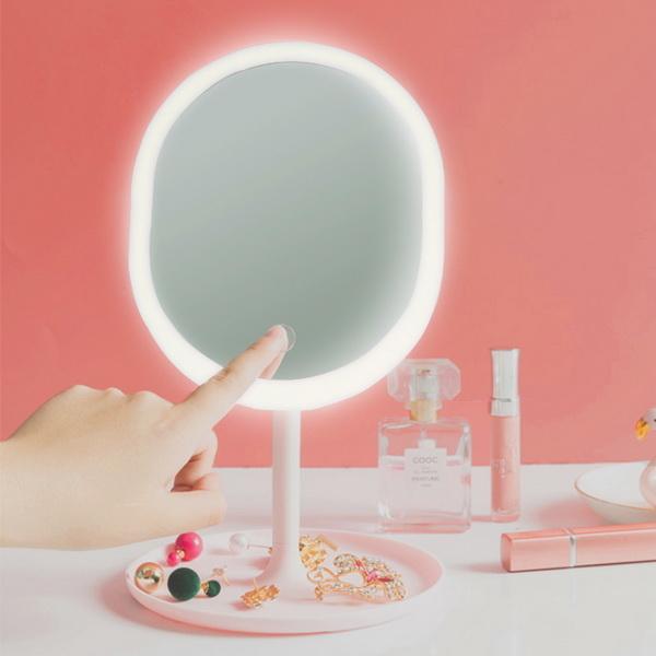COMBO Khay Son Hình Trái Tim + Gương Tròn Để Bàn Kèm Đèn Led - TẶNG 1 CHONG CHÓNG 1