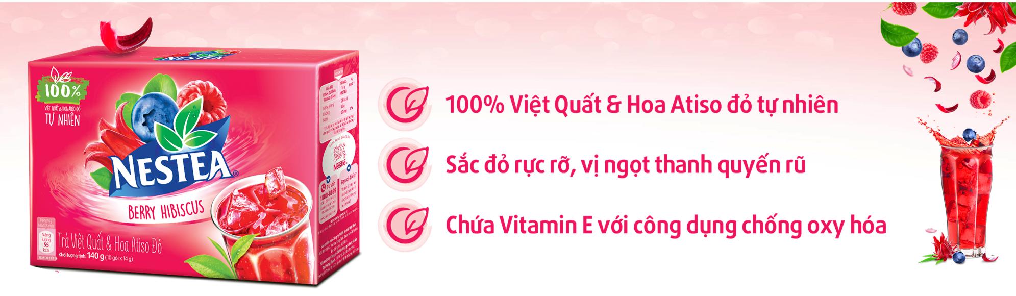 Trà Việt Quất Và Hoa Atiso Đỏ Hộp Giấy Nestea (10 Gói x 14g)