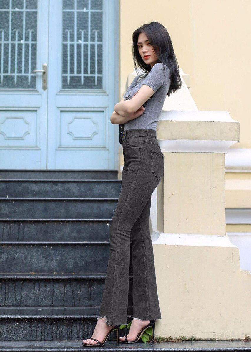 Quần jean nữ ống loe lưng cao lai kiểu 6