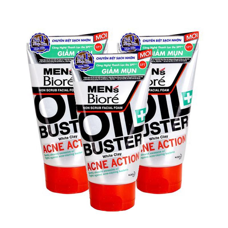 Sữa rửa mặt sạch nhờn giảm mụn cho nam Men's Bioré non scrub facial foam oil buster acne action 100ml