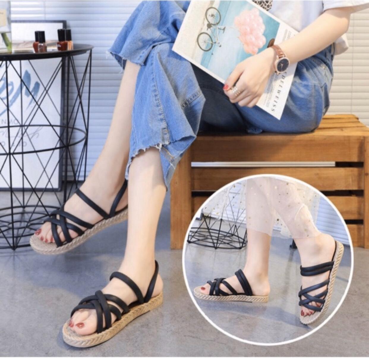 Dép sandal nữ quai chéo đế giả cói vintage siêu mềm êm chân CS1 1