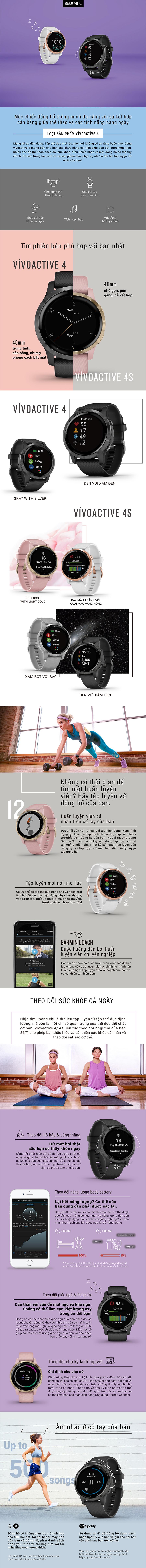 Đồng Hồ Thông Minh Theo Dõi Vận Động Theo Dõi Sức Khỏe Garmin Vivoactive 4 / Vivoactive 4S - Hàng Chính Hãng