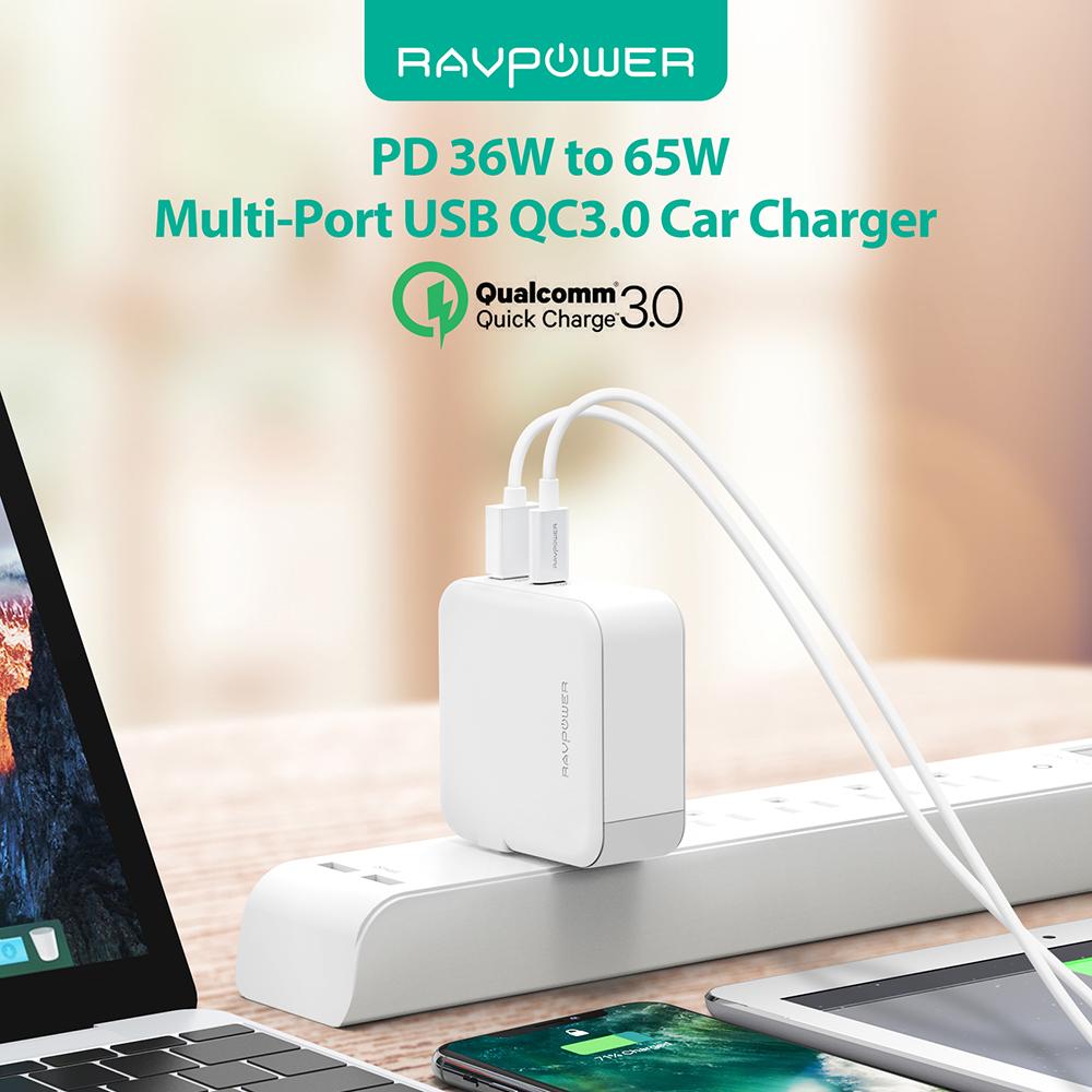 Sạc RAVPower RP-PC082, PD65W, USB-C, QC3.0, EU Plug - Hàng Chính Hãng