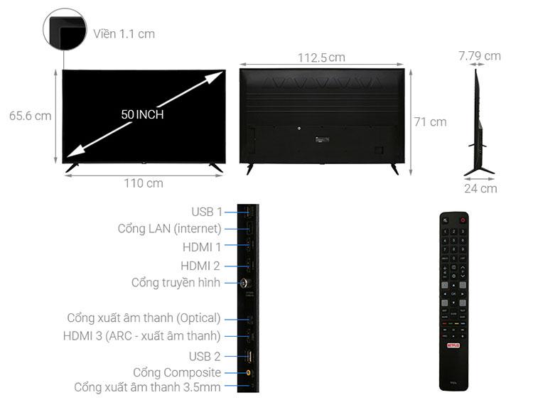 Smart Tivi TCL 4K 50 inch L50P65-UF - Hàng Chính Hãng