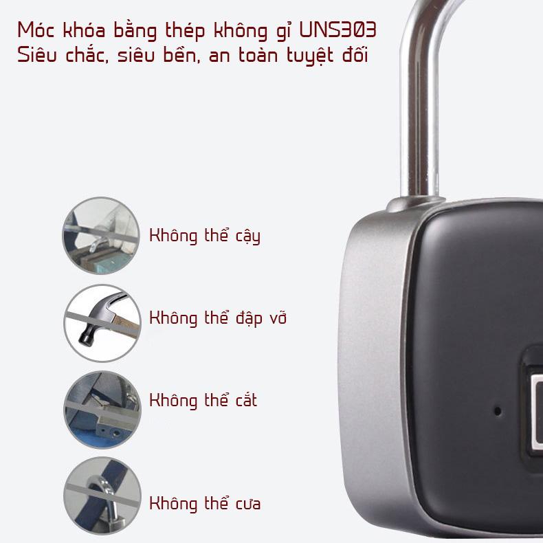 Ổ khóa vân tay chống trộm Nikeer P3 bằng thép không gỉ chống nước chống phá khóa gia dụng ALOMA