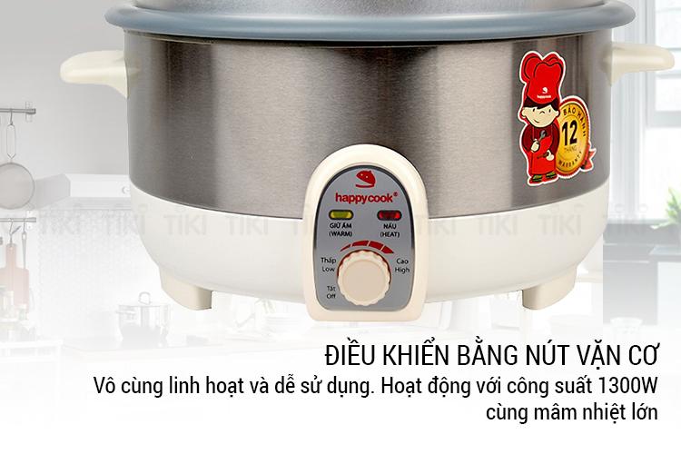 Nồi Lẩu Điện Có Xửng Happy Cook HCHP-350ST (3.5L) - Hàng Chính Hãng