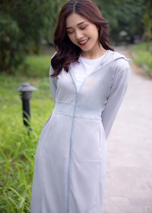 Áo chống nắng nữ liền thân, vải dày, dài tới gót chân, chống tia UV 10