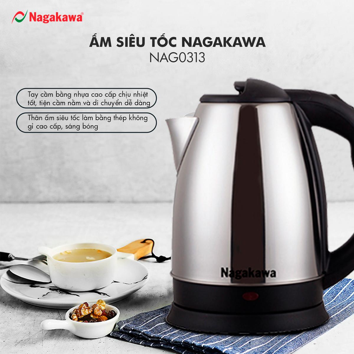 Ấm Siêu Tốc Nagakawa NAG0313 (1.8 Lít) - Hàng Chính Hãng