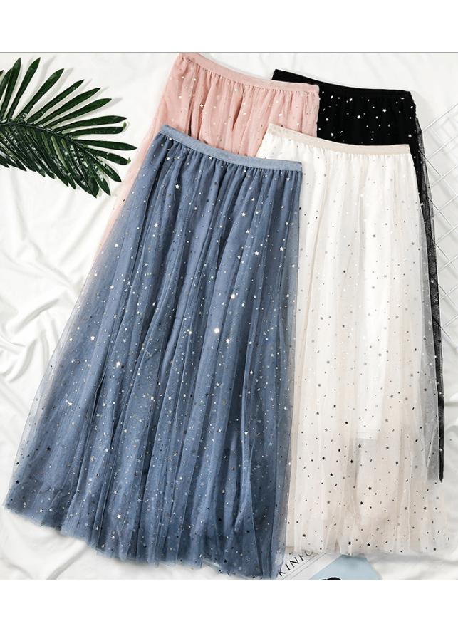 Chân váy ren Tulle - Tutu xòe tròn đính trăng sao lấp lánh giá siêu tốt VAY21 Free size 1