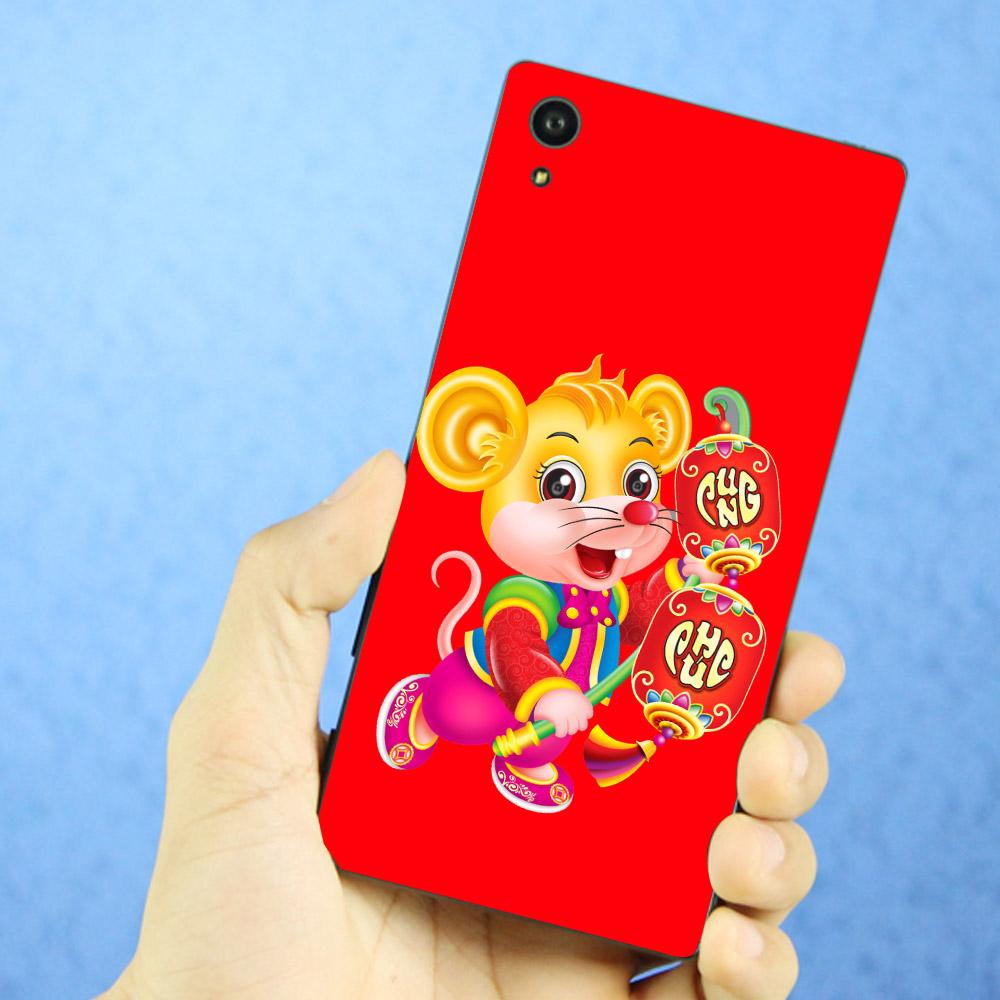 Ốp lưng cứng viền dẻo dành cho điện thoại Sony Xperia X - Chuột cầm đèn lồng vui Xuân MS CCDLVX01