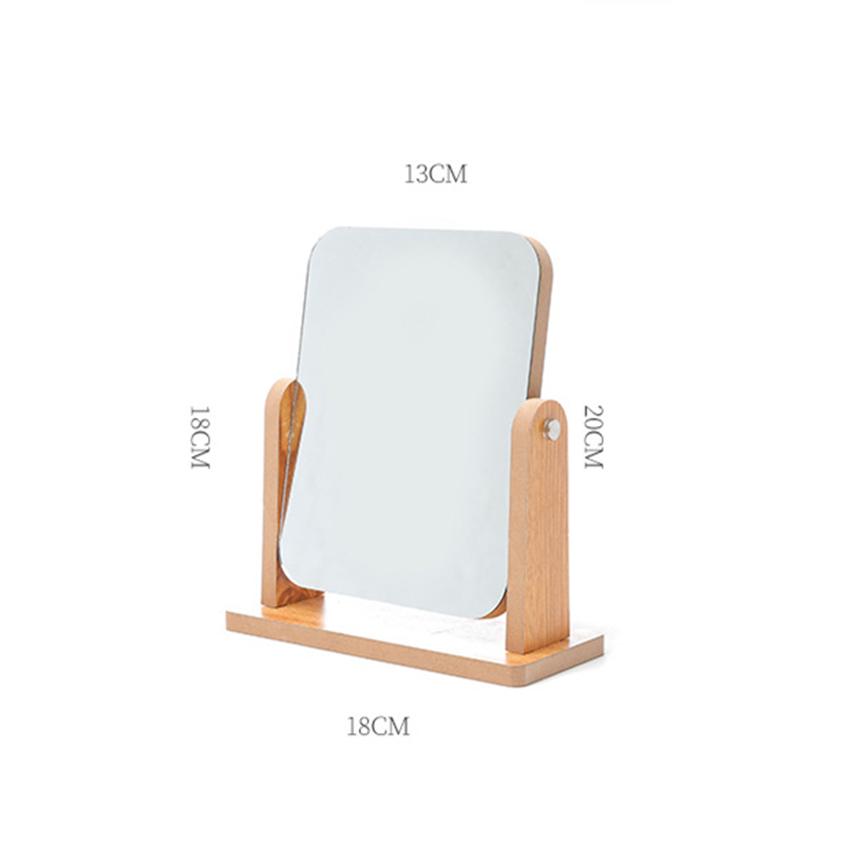 Gương trang điểm để bàn decor mini 13x18cm, xoay 360 độ, chất liệu gỗ ép thân thiện, sang trọng 2