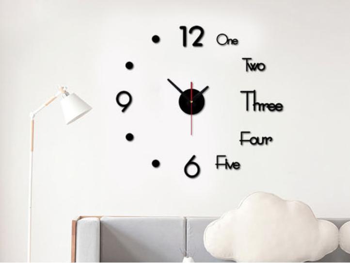 Đồng hồ dán tường kết hợp chữ và số đẹp mắt 3D 1