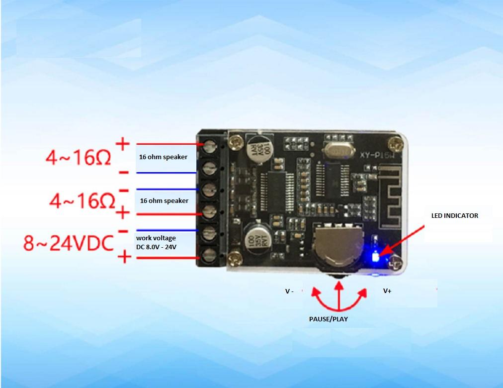 Mạch Khuếch Đại Âm Thanh Bluetooth 2 15W XY-P15W tặng hô p Mica trong suốt 3