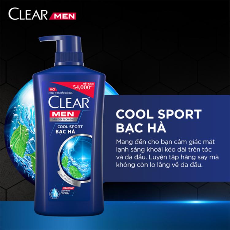 Dầu Gội Sạch Gàu Clear Men Cool Sport Bạc Hà (900g)