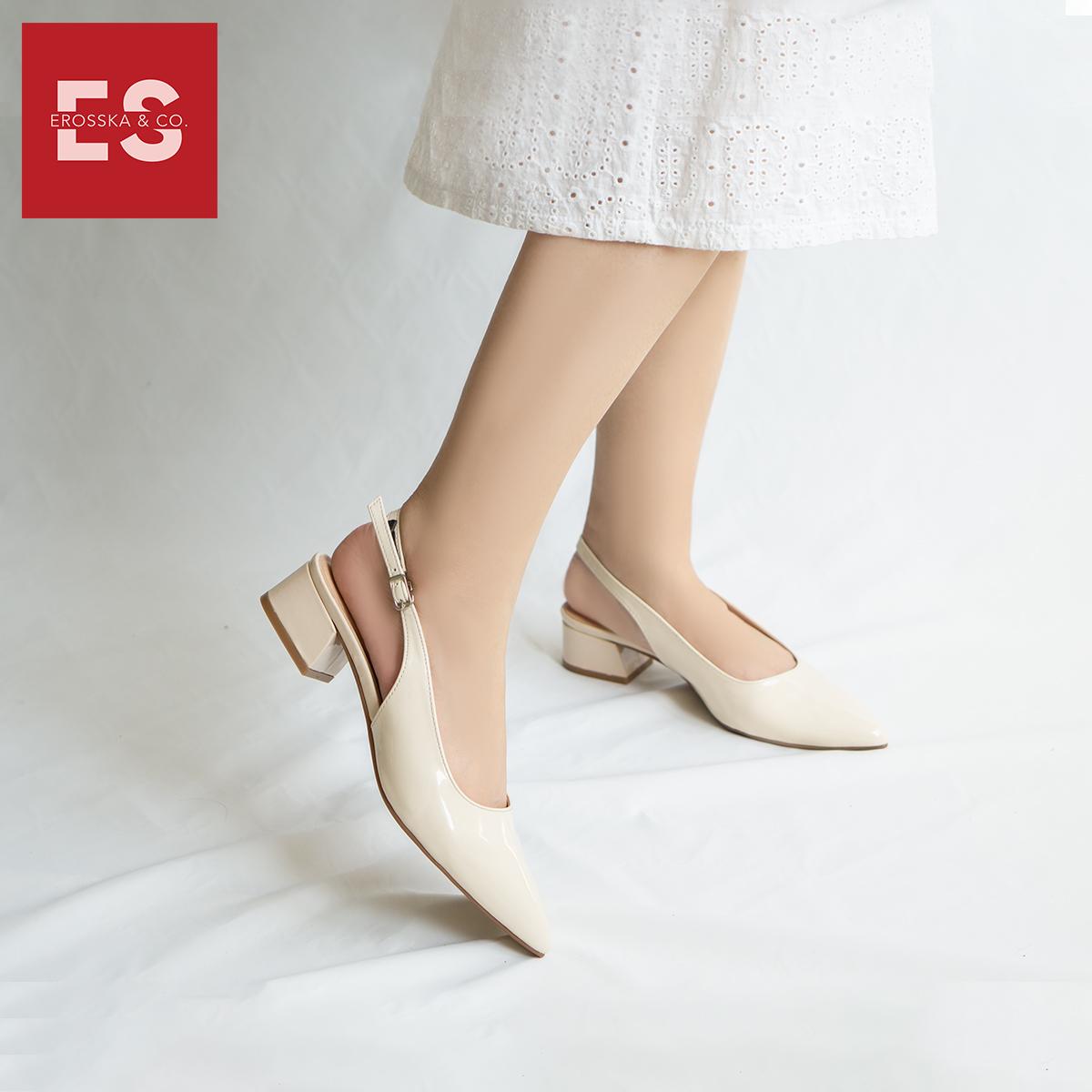 Giày cao gót slingback Erosska mũi nhọn da bóng kiểu dáng basic cao 4cm - EL012 6