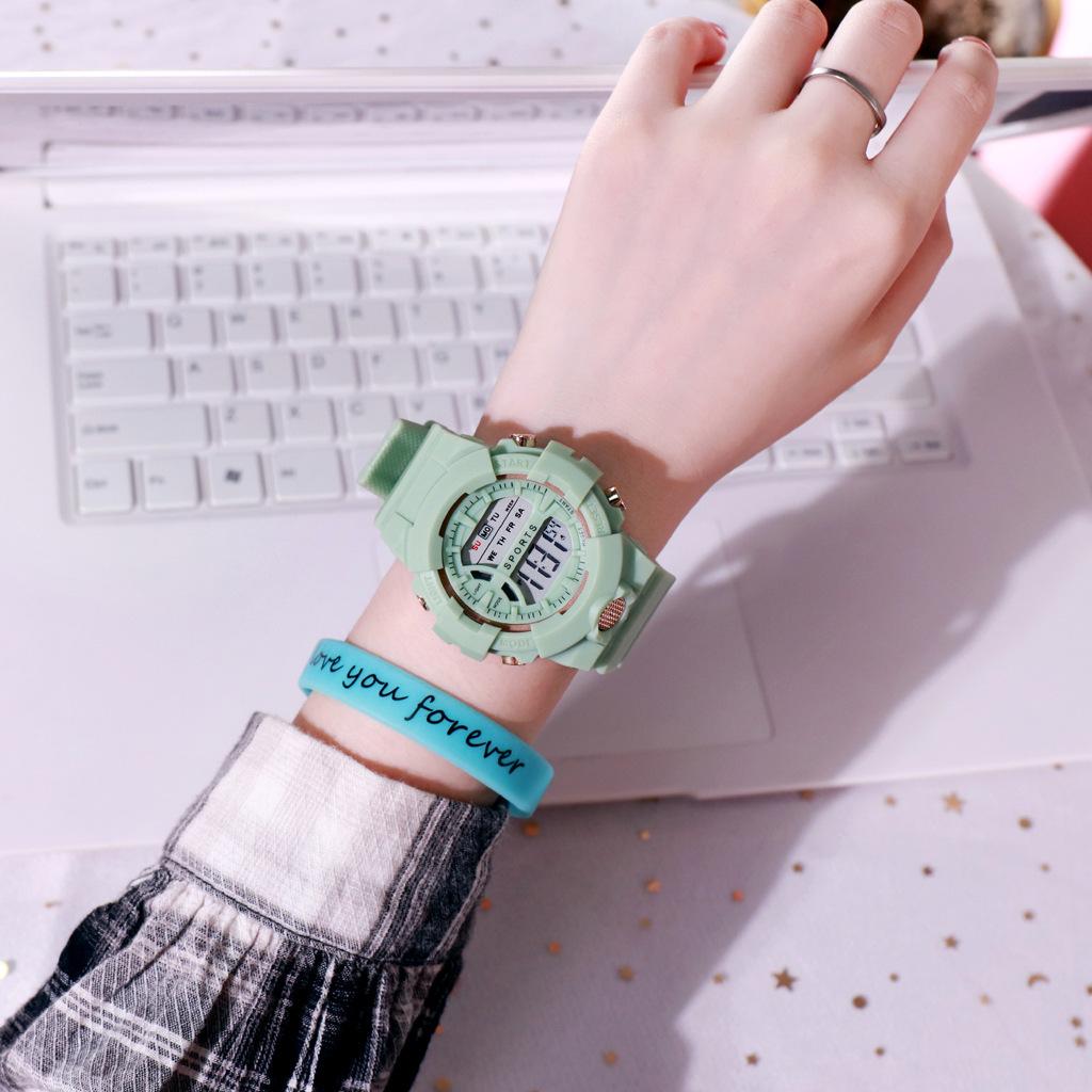 Đồng hồ điện tử nam và nữ KASAWI k562 Sports Đồng hồ Học sinh trung học cơ sở Hàn Quốc thể thao chống thấm nước- xem giờ điện tử - báo thức - bấm giờ thể thao - xem lịch ngày tháng thứ - Dây Silicone Bền Chắc 5