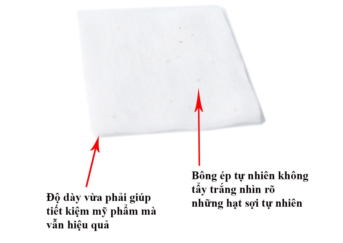 Bông trang điểm ( bông tẩy trang) Nhật Bản bằng bông tự nhiên không tẩy trắng hảo hạng Báo Hồng Miniso Pink Panther Bleach Free Cotton Pad ( gói 200 miếng) không xơ bông bám trên da MNS068 4