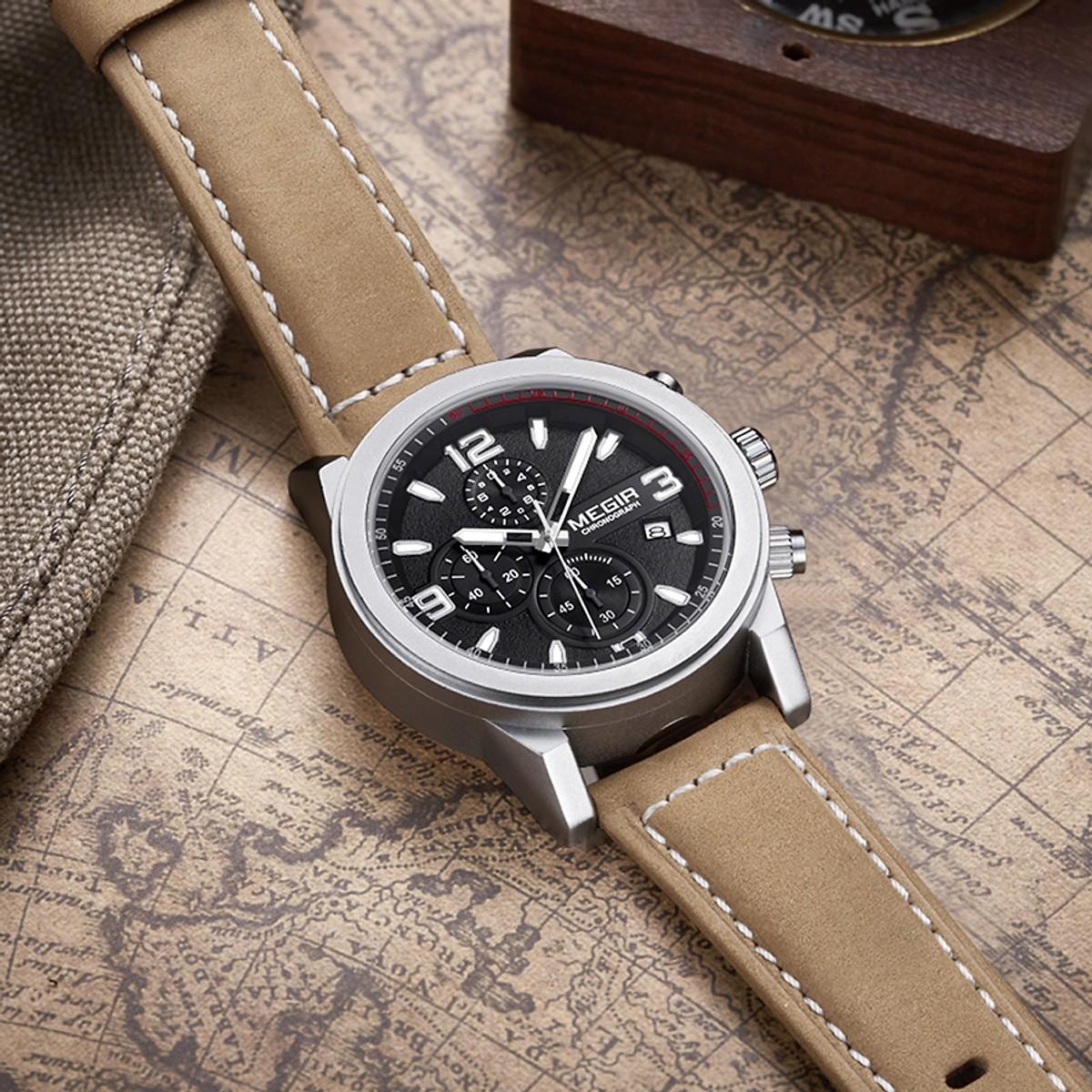 Đồng Hồ Chronograph MEGIR Dây Da Chống Thấm Nước 3ATM (Chronograph là dòng đồng hồ có 3 mặt đồng hồ nhỏ bên trong)