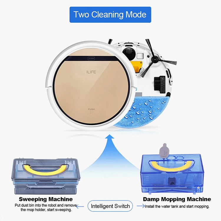 ILIFE V5S Pro Robot Vacuum Cleaner Intelligence Sweeper Damp Mopping 2 IN 1 Self-charging with Max Power Suction