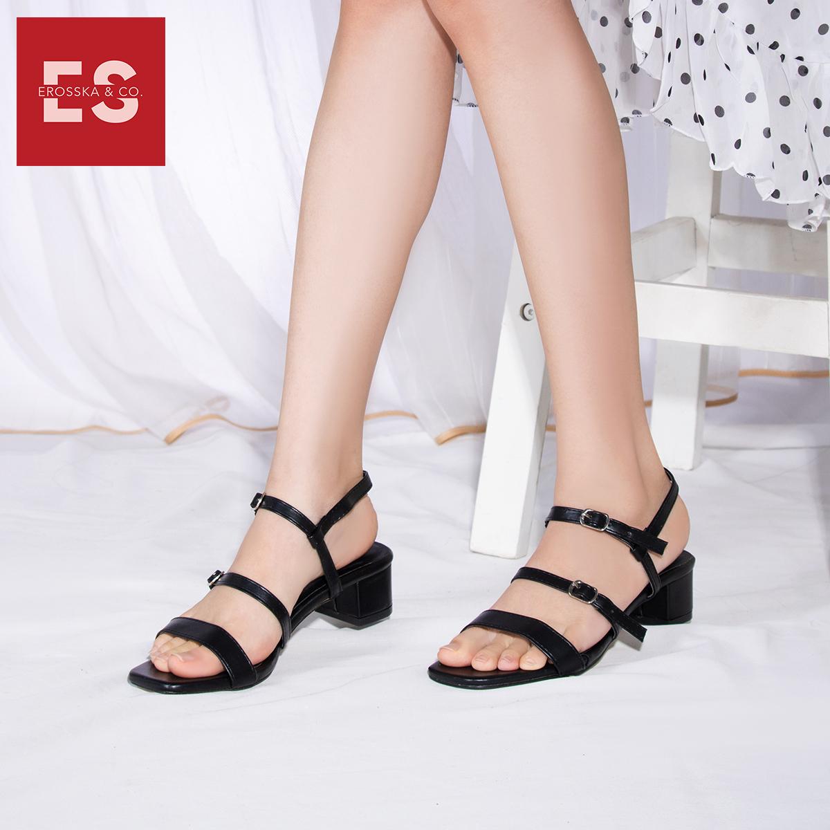 Gia y sandal cao gót Erosska thơ i trang mũi vuông phô i dây quai ma nh cao 3cm EB018 3