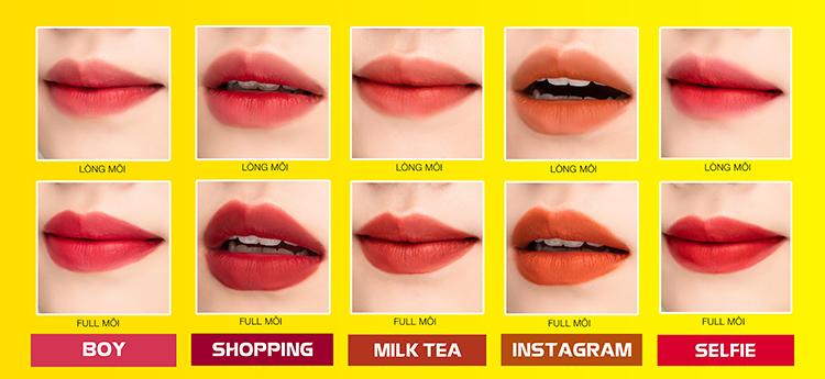 Combo 5 son lì Lemonade Matte Addict lipstick
