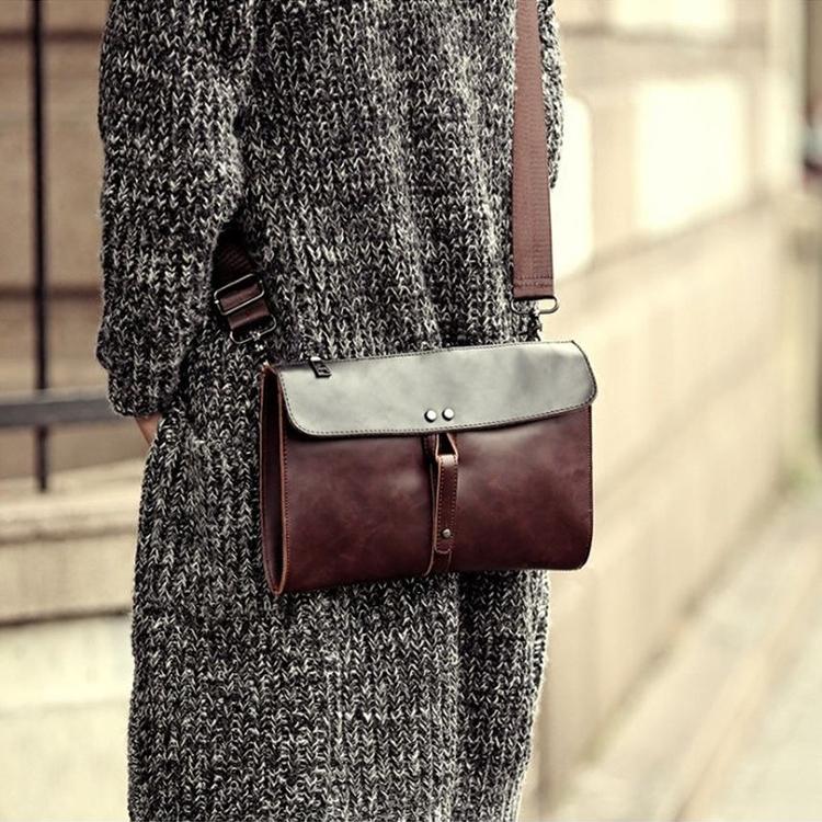 Men's Clutch Pu Leather Retro Purses & Pouches Shoulder Sling Bag Etonweag - Coffee