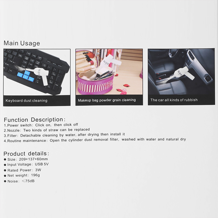 Portable Mini USB Vacuum Cleaner Computer Dust Collector Duster for Pet Car Laptop Keyboard Camera Phone