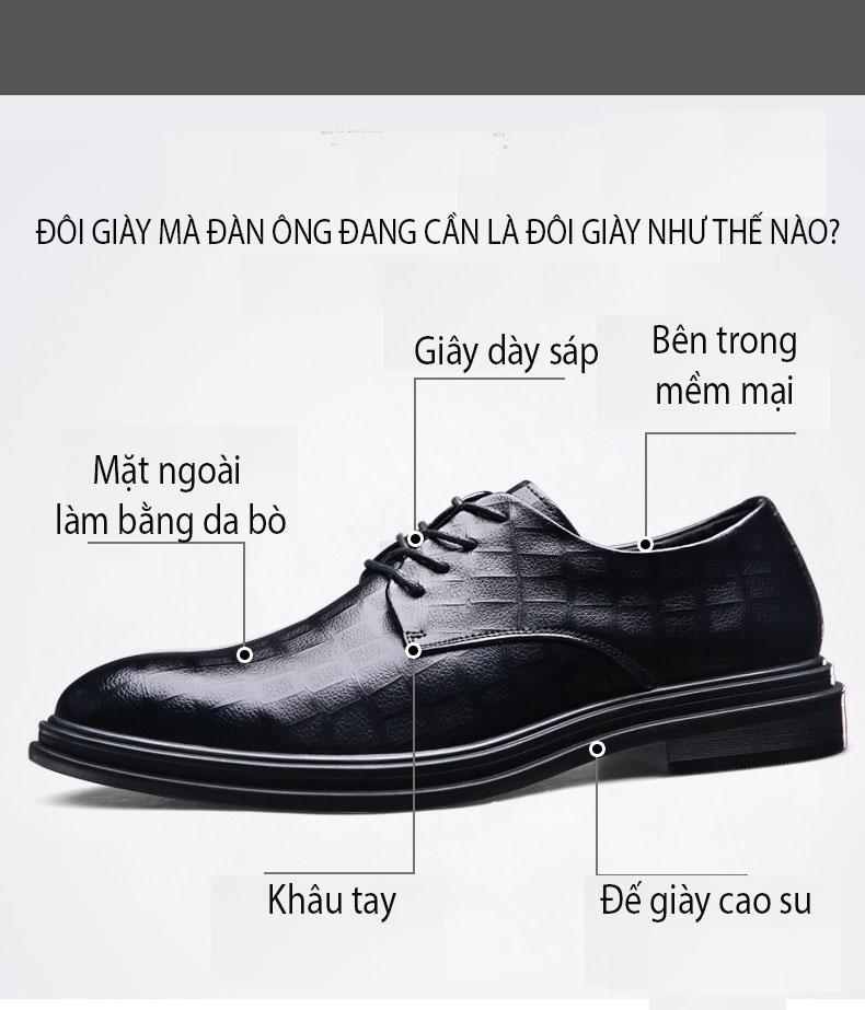 Giày da giày da nam cao cấp độn đế giày tăng chiều cao mã 36800-G đế cao 6cm 4